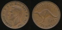 World Coins - Australia, 1943(m) One Penny, 1d, George VI - Fine