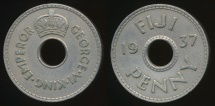 Fiji, Republic British Administration, 1937 Penny, 1d, George VI - Very Fine