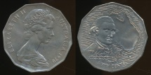 World Coins - Australia, 1970 Fifty Cents, 50c, Elizabeth II (Captain Cook) - Uncirculated