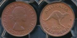 World Coins - Australia, 1953(p) Halfpenny, 1/2d, Elizabeth II - PCGS MS63BN (Ch-Unc)