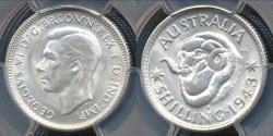 World Coins - Australia, 1943(s) One Shilling, 1/-, George VI (Silver) - PCGS MS64 (Ch-Unc)