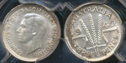 World Coins - Australia, 1942(s) Threepence, 3d, George VI (Silver) - PCGS MS64 (Ch-Unc)