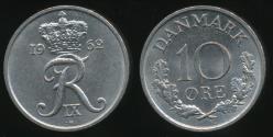 World Coins - Denmark, Kingdom, Frederik IX, 1962 10 Ore - Uncirculated