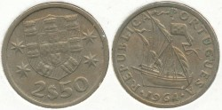 World Coins - PORTUGAL - 1964, 2-1/2 Escudos, KM# 580