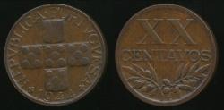 World Coins - Portugal, Republic, 1944 20 Centavos - Extra Fine