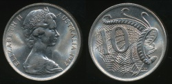 World Coins - Australia, 1967 Ten Cents, 10c, Elizabeth II - Choice Uncirculated