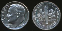 World Coins - United States, 1969-S Dime, Roosevelt - Proof