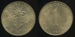 World Coins - Austria, Republic, 1989 1 Schilling - Uncirculated