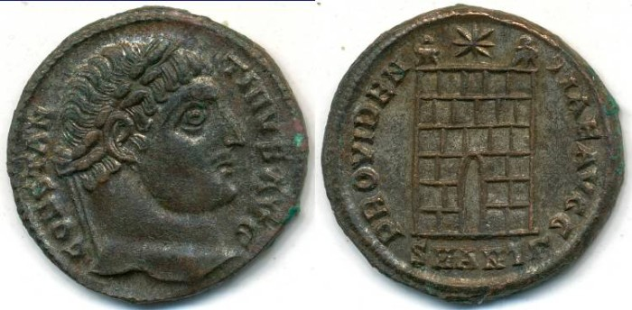 Ancient Coins - CONSTANTINE I, Silvered AE-3, AD 306-337, Antioch mint, Struck 325-326 AD, (19mm, 3.27 gm) - RIC VII, 63