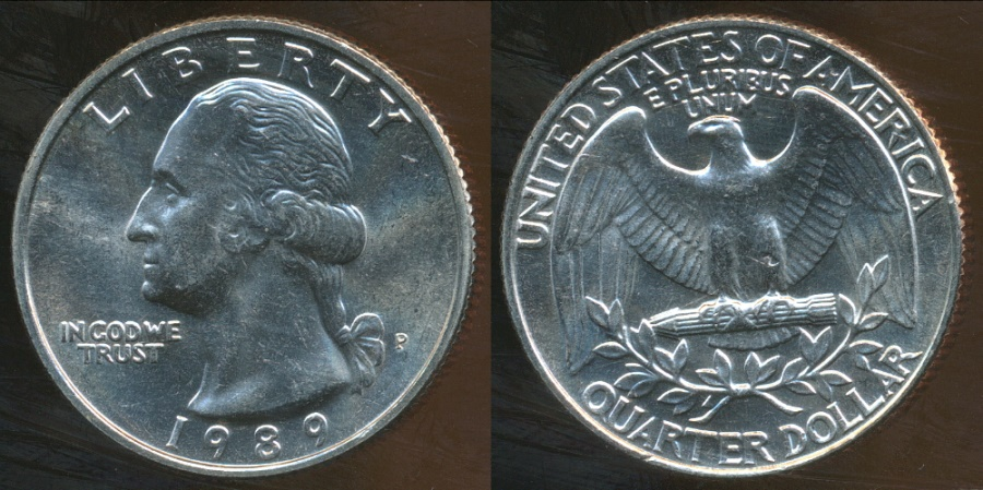 World Coins - United States, 1989-P Quarter Dollar, Washington - Uncirculated