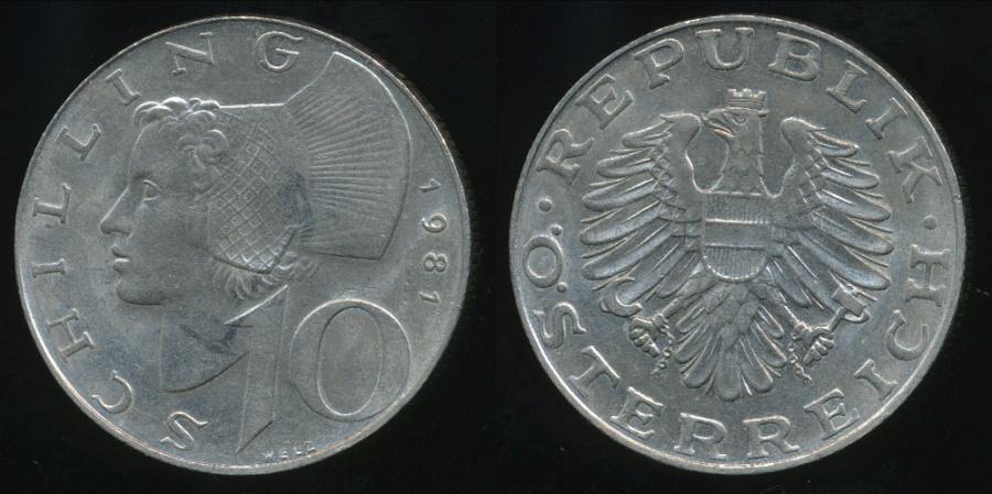 World Coins - Austria, Republic, 1981 10 Schilling - almost Uncirculated