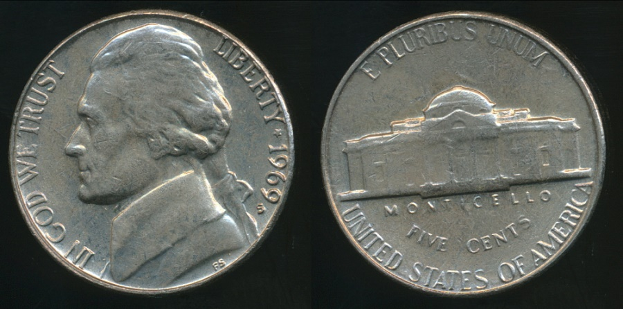 World Coins - United States, 1969-S 5 Cents, Jefferson Nickel - Uncirculated