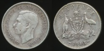 World Coins - Australia, 1943(d) Sixpence, 6d, George VI (Silver) - Fine