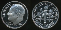 World Coins - United States, 1994-S Dime, Roosevelt - Proof
