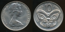 New Zealand, 1976 Ten Cents, 10c, Elizabeth II - Uncirculated