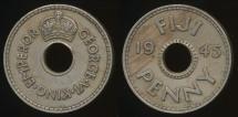 Fiji, Republic British Administration, 1945 Penny, 1d, George VI - Very Fine