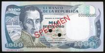 World Coins - Colombia, 1984 1000 Pesos Oro, Specimen Banknote - Uncirculated