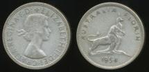World Coins - Australia, 1954 Florin, 2/-, Elizabeth II (Royal Visit)(Silver) - Fine