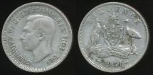 World Coins - Australia, 1951(m) Sixpence, 6d, George VI (Silver) - Fine