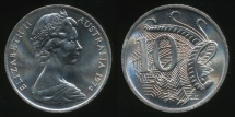World Coins - Australia, 1974 Ten Cents, 10c, Elizabeth II - Choice Uncirculated