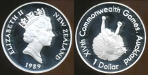 World Coins - New Zealand, 1989 One Dollar, $1, Elizabeth II (Games-Runner)(Silver) - Proof