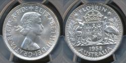 World Coins - Australia, 1958(m) Florin, 2/-, George VI (Silver) - PCGS MS64 (Ch-Unc)