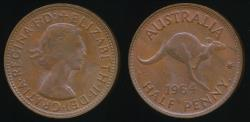 World Coins - Australia, 1964(p) Halfpenny, 1/2d, Elizabeth II - Uncirculated