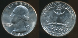 World Coins - United States, 1981-D Quarter, 1/4 Dollar, Washington - Uncirculated
