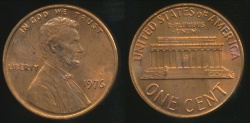 World Coins - United States, 1976 One Cent, 1c, Lincoln Memorial - Uncirculated