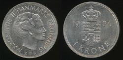 World Coins - Denmark, Kingdom, Margrethe II, 1984 1 Krone - Uncirculated