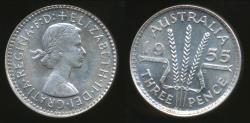 World Coins - Australia, 1955 Threepence, 3d, Elizabeth II (Silver) - Uncirculated