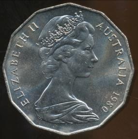 World Coins - Australia, 1980 50 Cents, Elizabeth II (Double Bar) - Uncirculated