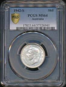 World Coins - Australia, 1942(s) One Shilling, 1/-, George VI (Silver) - PCGS MS64 (Ch-Unc)