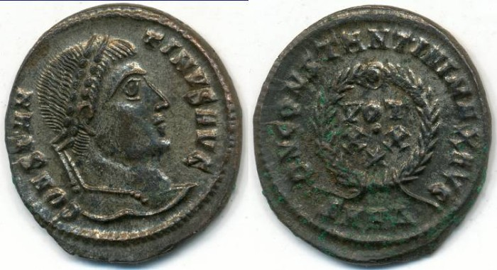 Ancient Coins - CONSTANTINE I, the Great, AE-3, AD 306-337, Heraclea, Struck AD 321-324, (19mm, 2.85gm) - RIC VII:60