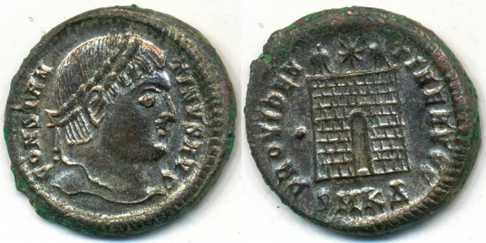 Ancient Coins - CONSTANTINE I, Silvered AE-3, AD 306-337, Cyzicus mint, Struck 325-326 AD, (20mm, 3.88 gm) - RIC VII, 51