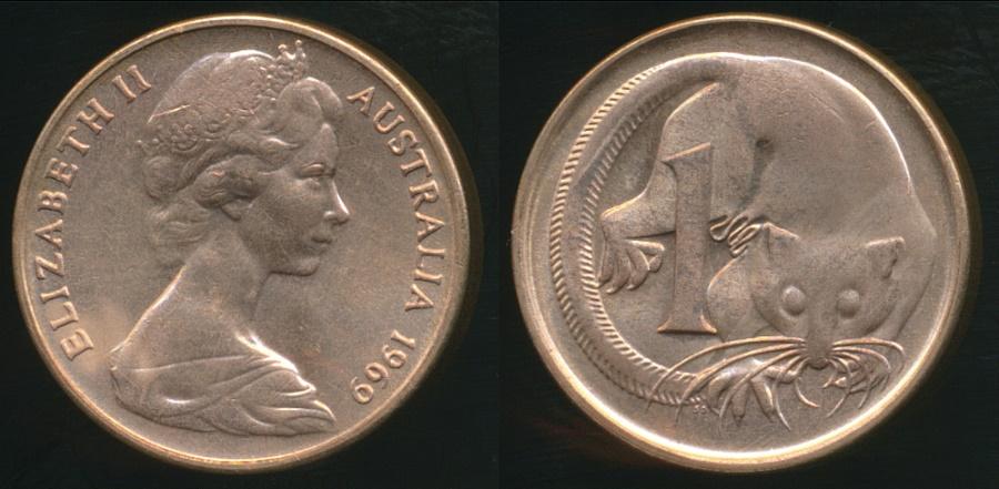 Australia, 1969 1 Cent, Elizabeth II - Uncirculated