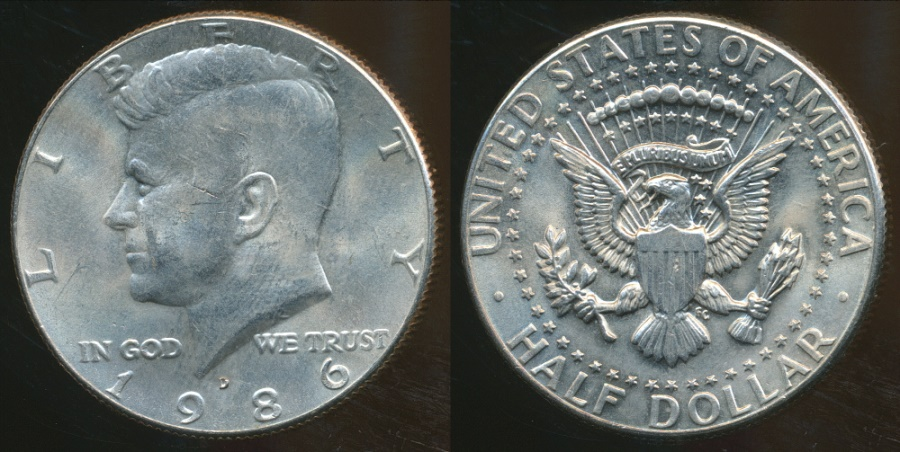 World Coins - United States, 1986-D Half Dollar, Kennedy - Uncirculated