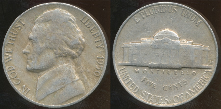 World Coins - United States, 1950-D 5 Cents, Jefferson Nickel - Very Fine