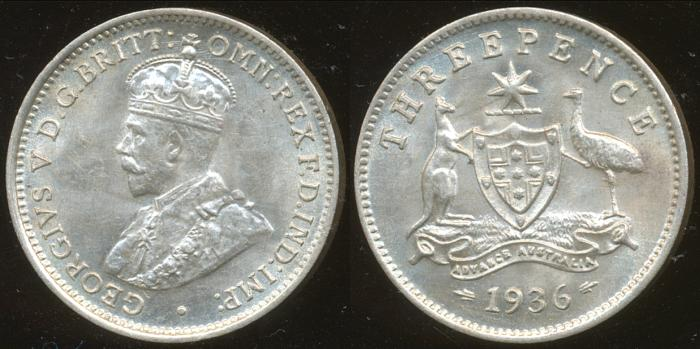 World Coins - AUSTRALIA - 1936 Threepence, George V - Ch-Unc