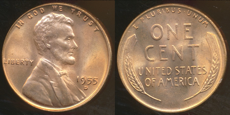 World Coins - United States, 1955-D One Cent, Lincoln Wheat - Choice Uncirculated