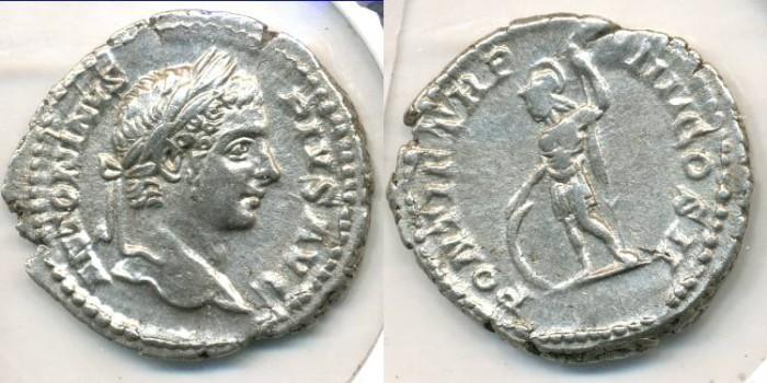 Ancient Coins - CARACALLA, AR Denarius, AD 196-217, (20mm, 2.92 g), Rome - RIC 83
