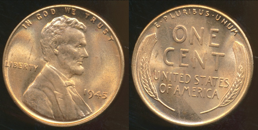 World Coins - United States, 1945 One Cent, Lincoln Wheat - Choice Uncirculated