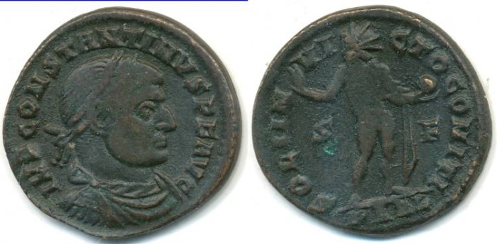 Ancient Coins - CONSTANTINE I, AE-Follis, AD 307-337, Arles mint, (19mm, 3.67 gm) - RIC 72