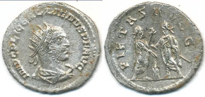 Ancient Coins -   GALLIENUS, Silvered Antoninianus, AD 253-268, Samosata mint, (23mm, 2.68 gm) - RIC V, Part 1 477
