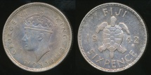 Fiji, Republic British Administration, 1942(s) Sixpence, George VI (Silver) - Extra Fine