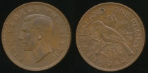World Coins - New Zealand, 1949 One Penny, 1d, George VI - Extra Fine