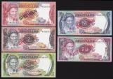 World Coins - Swaziland, 1974 Set of 5 Specimen Banknotes (1, 2, 5, 10, 20 Emalangeni) - Uncirculated
