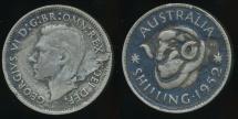 World Coins - Australia, 1952 One Shilling, 1/-, George VI (Planchet Flaw)(Silver) - Fine