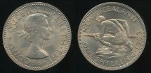 World Coins - New Zealand, 1965 Shilling, 1/-, Elizabeth II - Choice Uncirculated