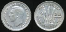 World Coins - Australia, 1952 Threepence, 3d, George VI (Silver) - Very Fine/Extra Fine